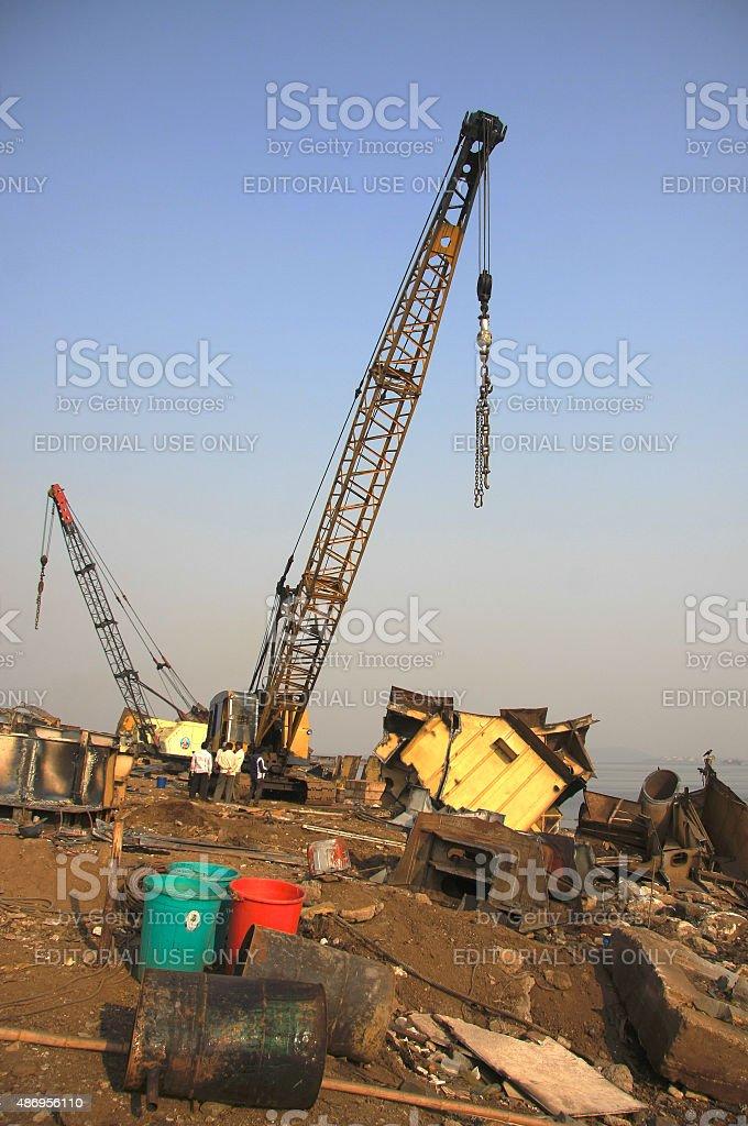 Ship breaking crane stock photo