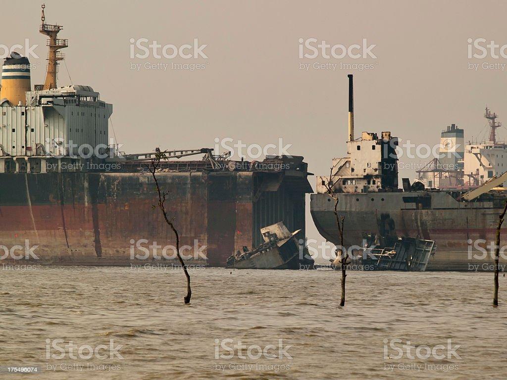 Ship breaking yards of Bangladesh stock photo