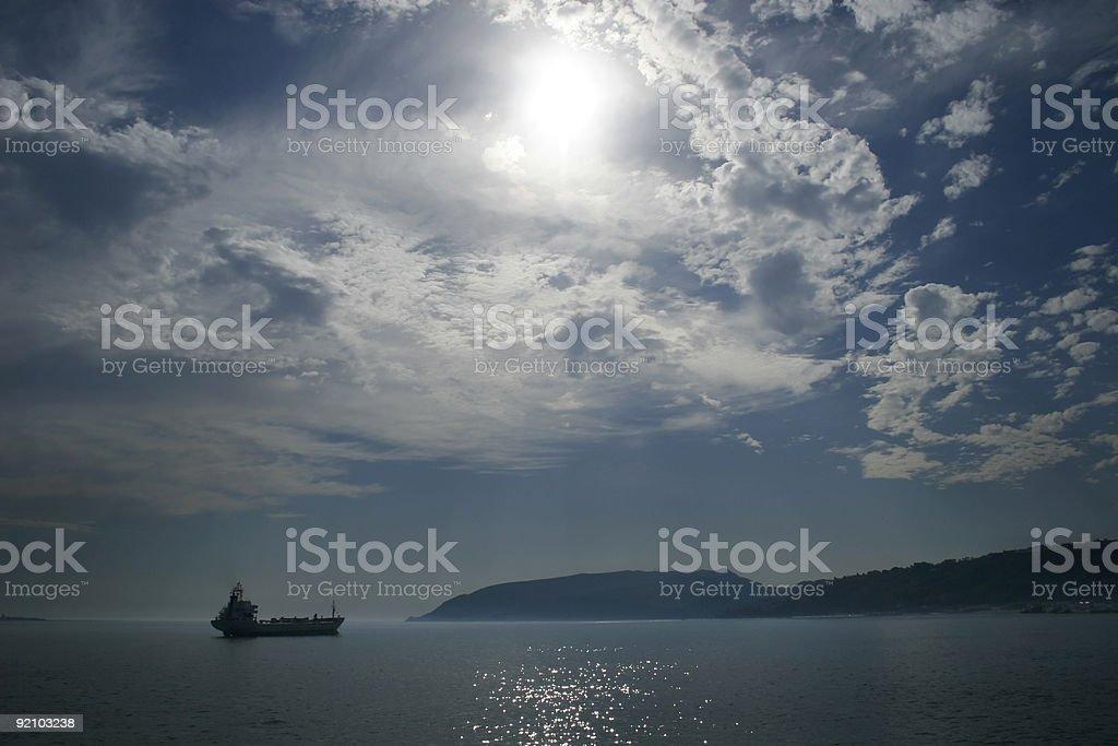 ship cargo oil transportation fog 03 royalty-free stock photo