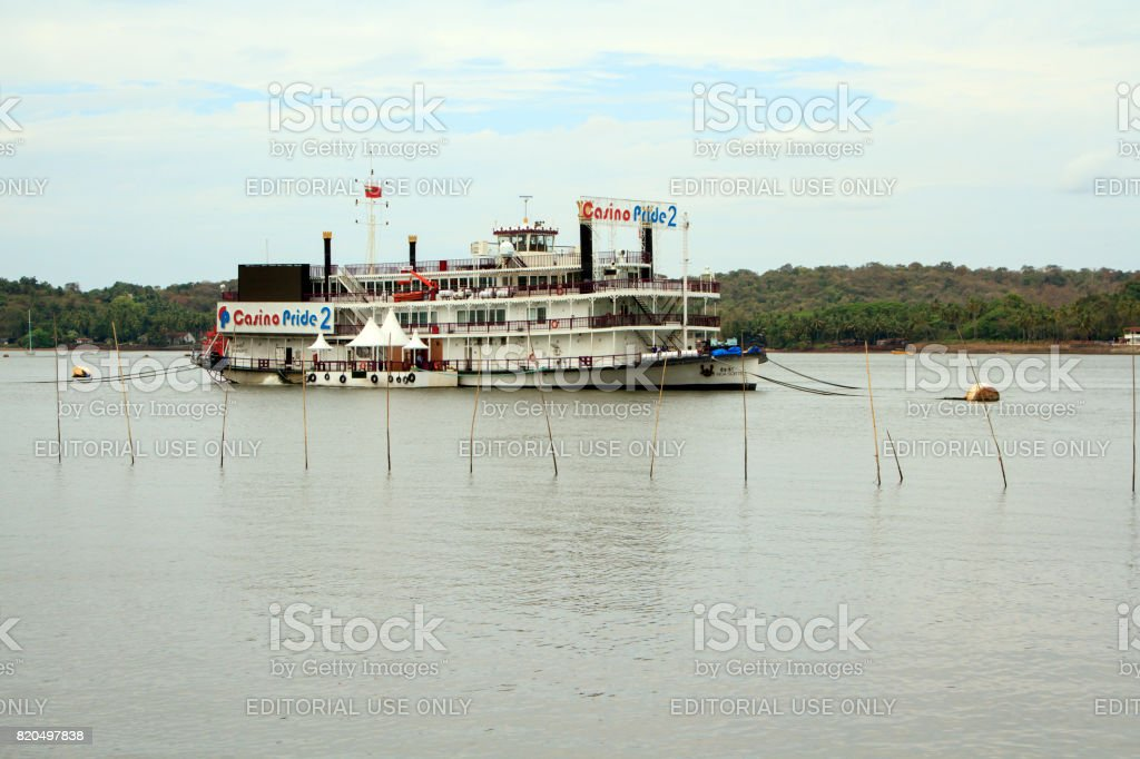 Ship - casino on Mandovi river in Panaji stock photo