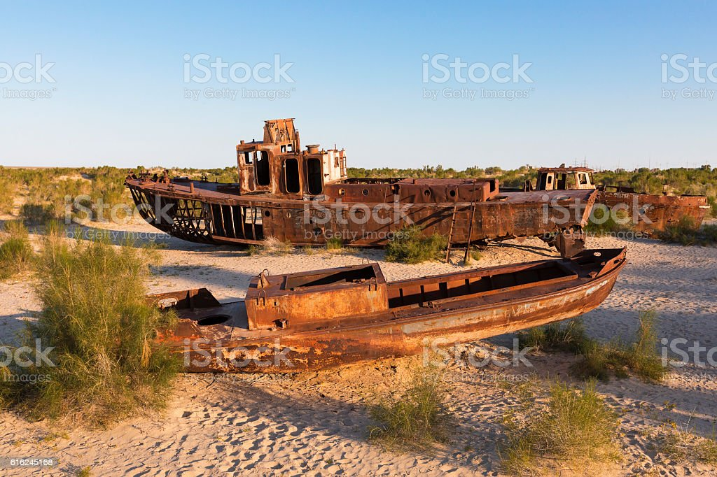 Ship cemetery at Aral Sea stock photo
