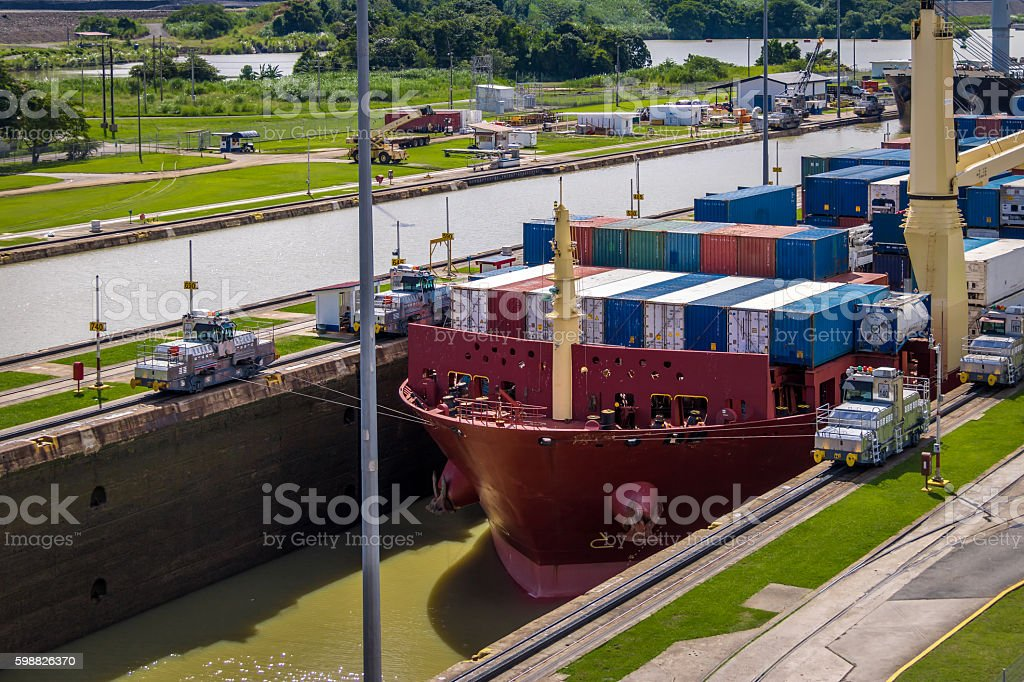 Ship crossing Panama Canal at Miraflores Locks stock photo