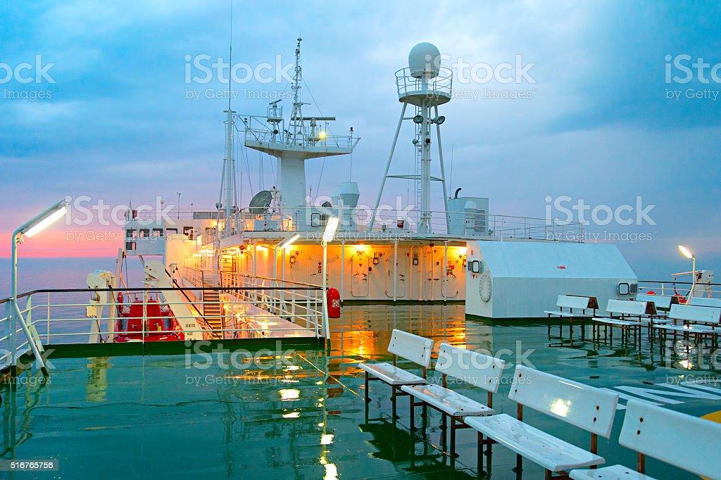 Ship deck in the rain stock photo