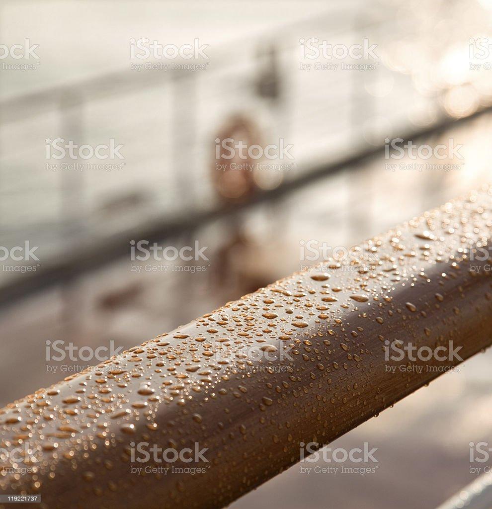 Ship deck railling stock photo