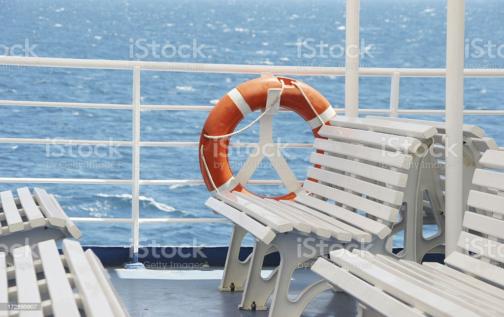 ship deck with life belt royalty-free stock photo