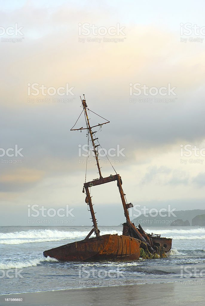Ship destroyed ruined royalty-free stock photo