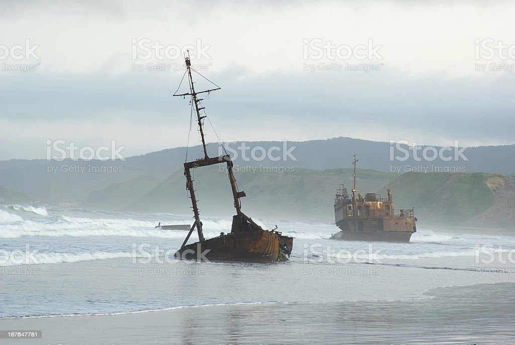 Ship destroyed ruined stock photo