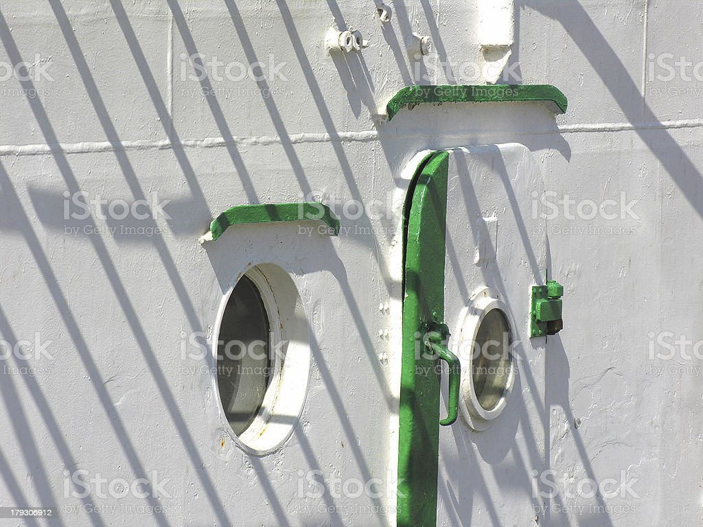 Ship door and windows royalty-free stock photo