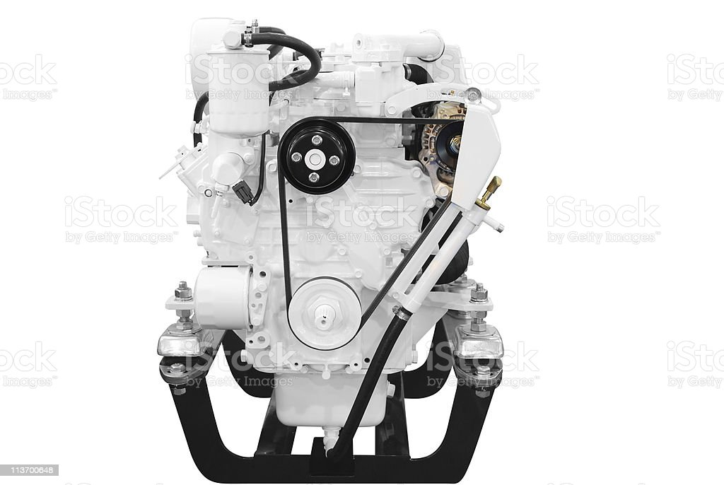 ship engine front view isolated on white stock photo