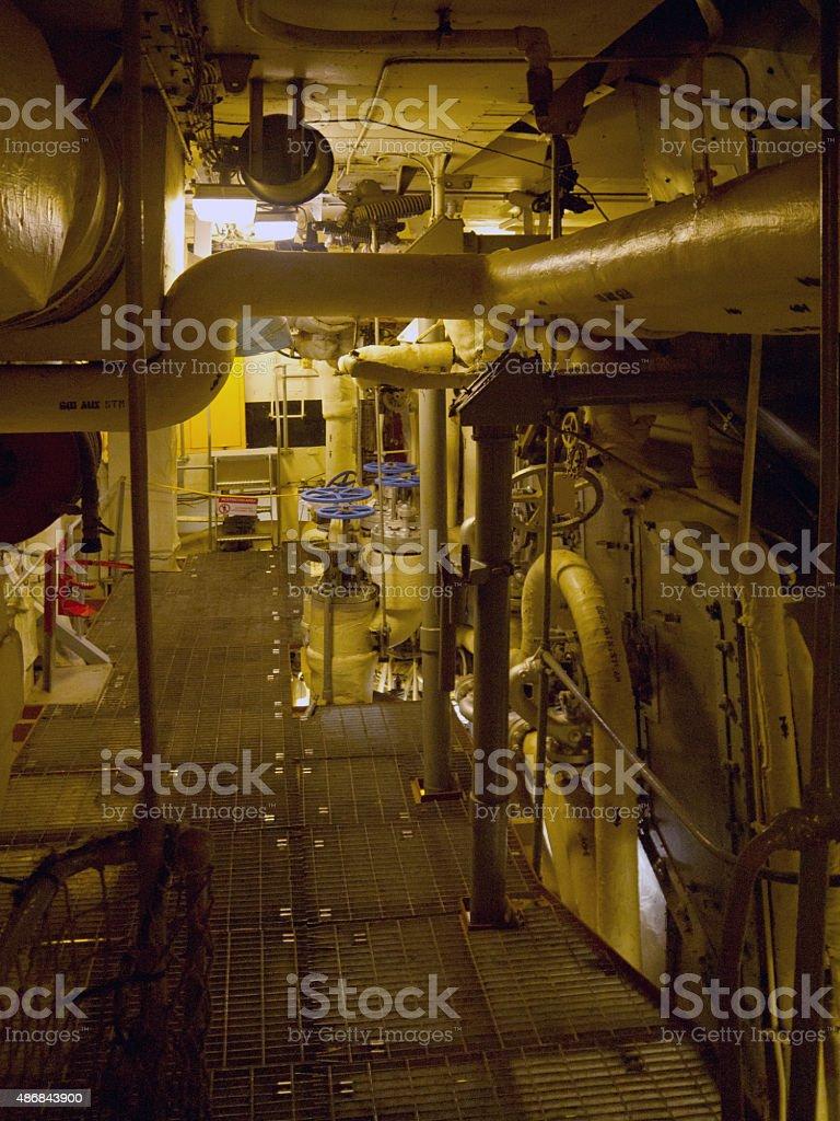 Ship engine room stock photo