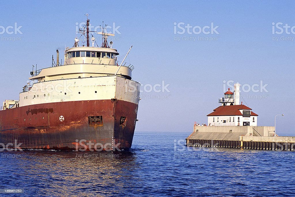 Ship Entering Duluth Harbor royalty-free stock photo