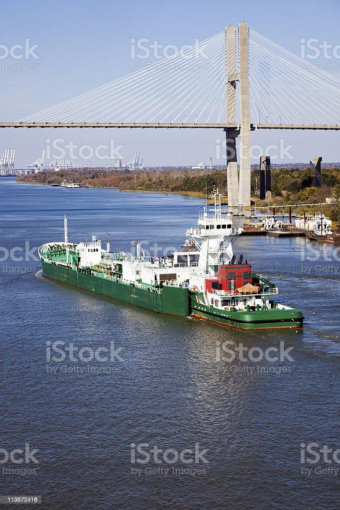 Ship entering port of Savannah stock photo