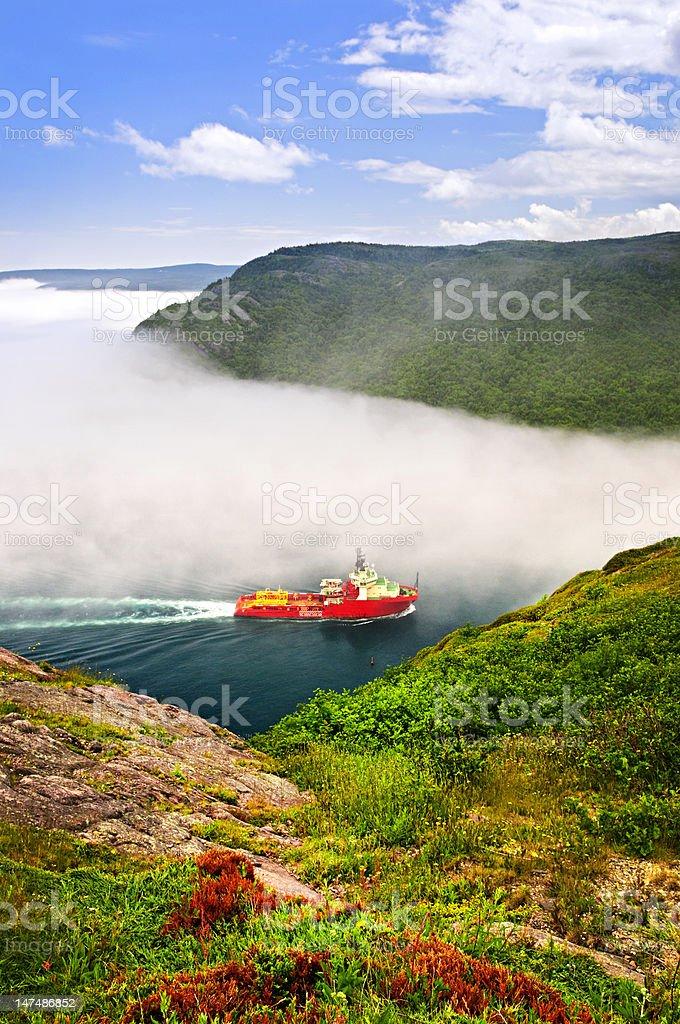 Ship entering the Narrows of St John's stock photo