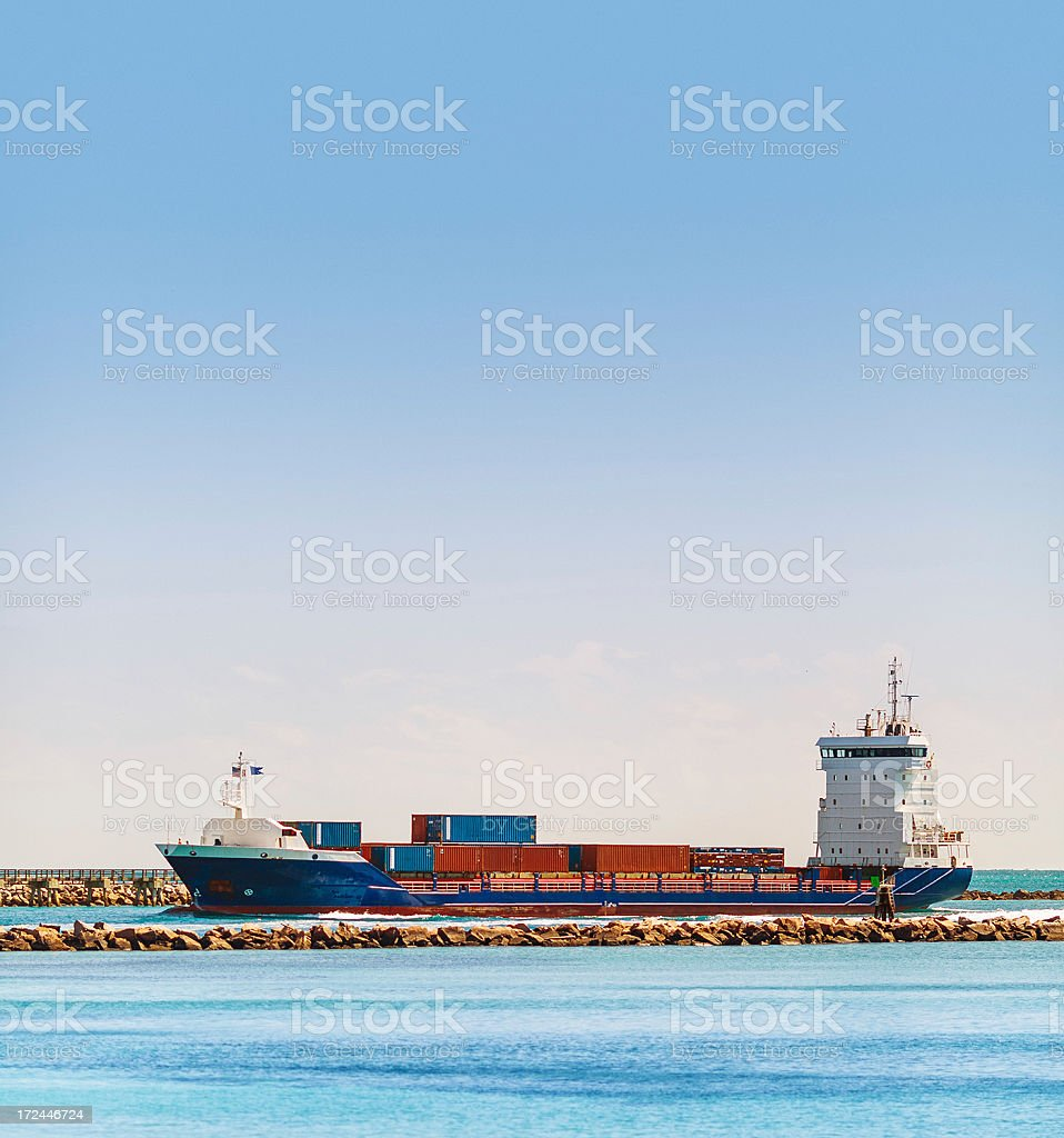 ship entering the port of miami royalty-free stock photo