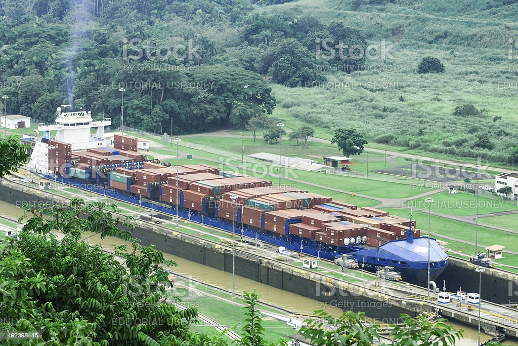 Ship enters Miraflores Locks in Panama Canal stock photo