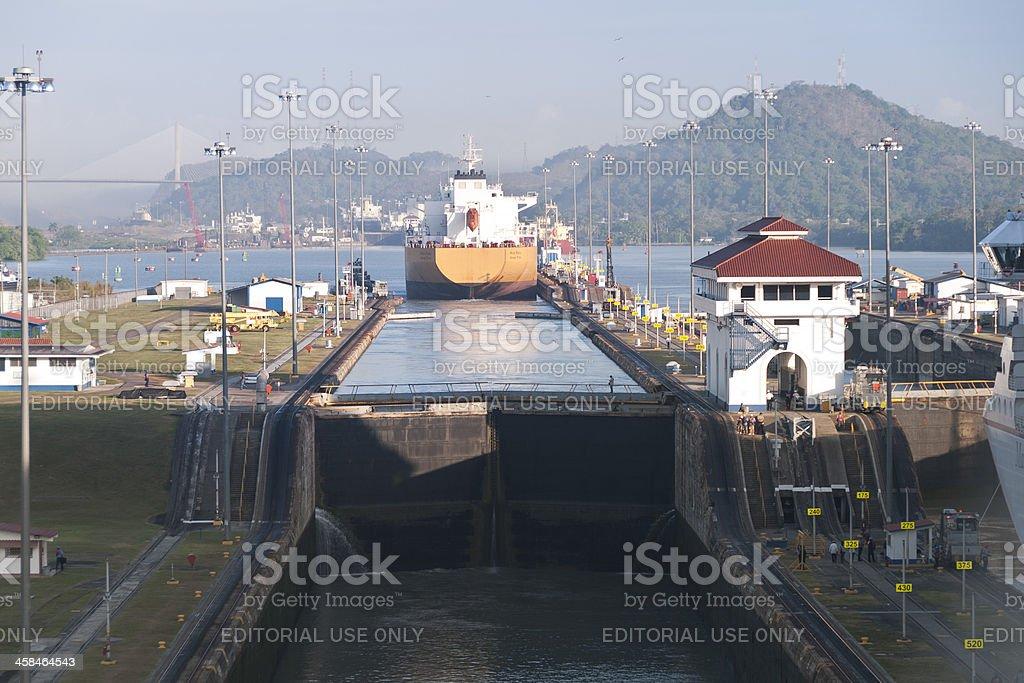 Ship Exiting the Miraflores Locks of Panama Canal stock photo