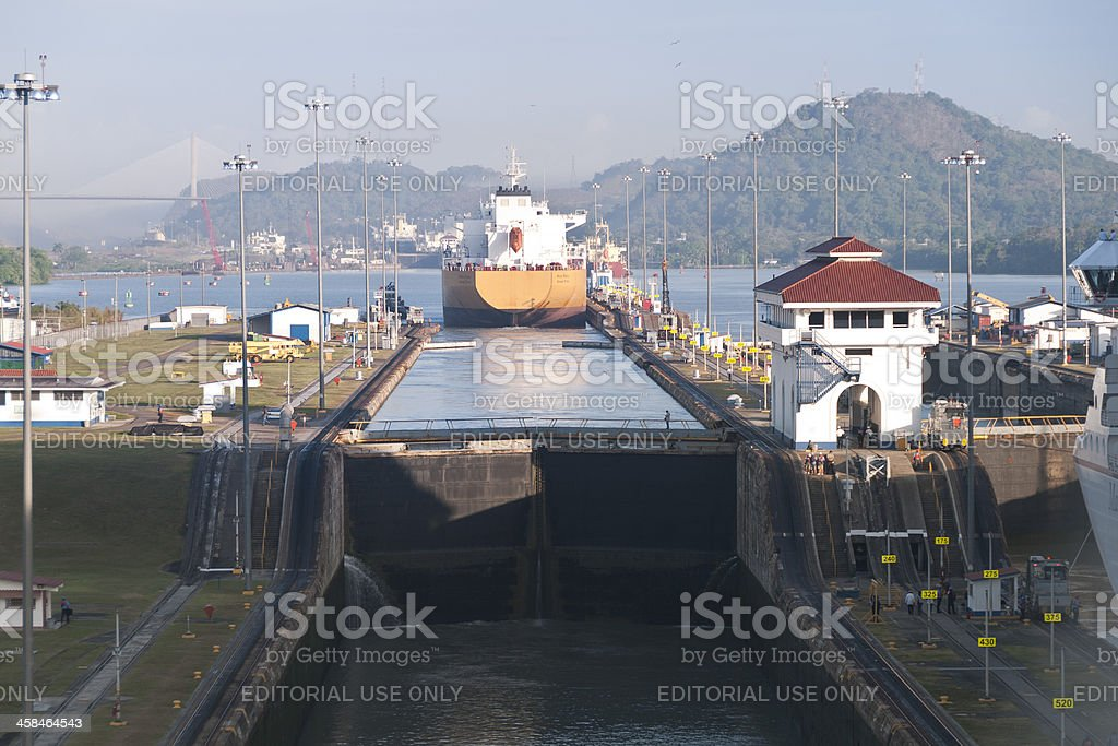 Ship Exiting the Miraflores Locks of Panama Canal stock photo