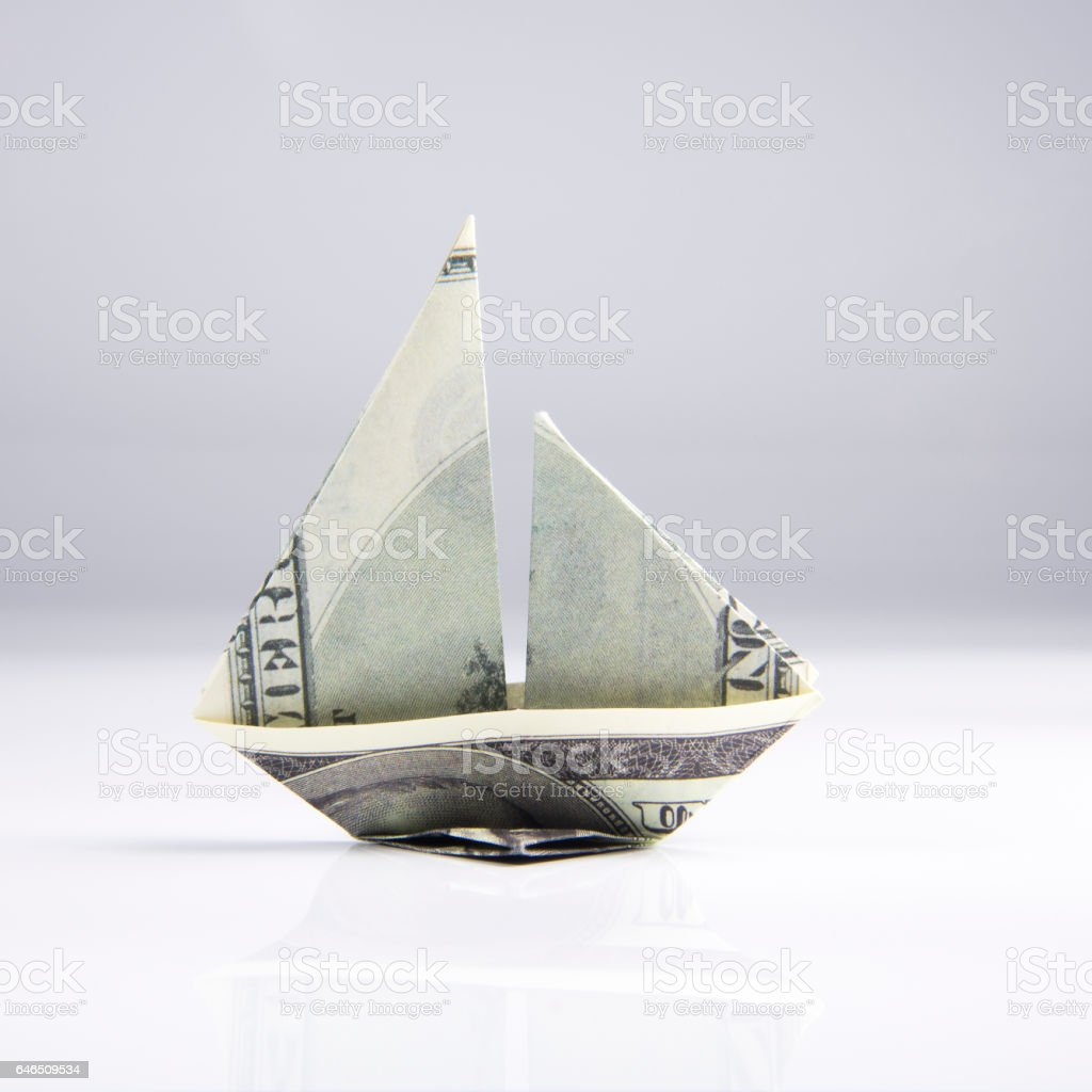 ship from banknotes stock photo