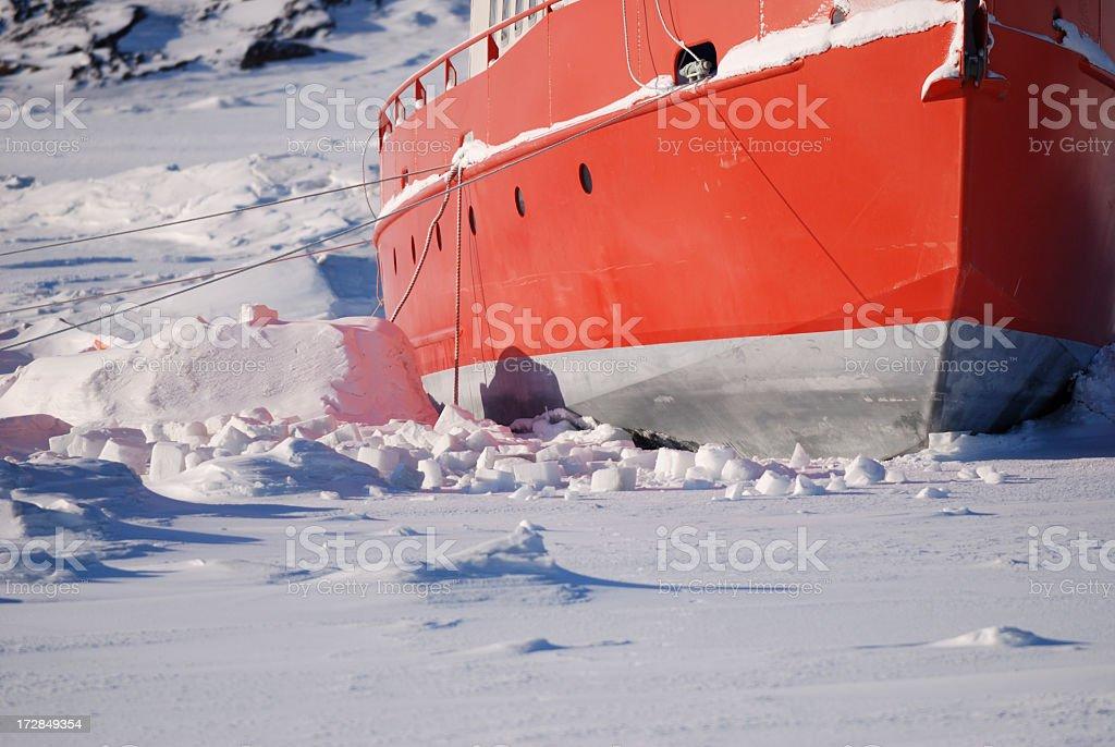 Ship Frozen In Ice, Frobisher Bay, Baffin Island, Nunavut. stock photo