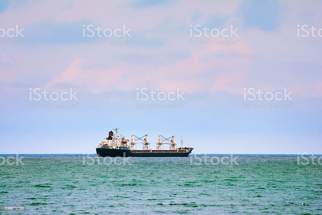 Ship Goes to the Open Sea stock photo