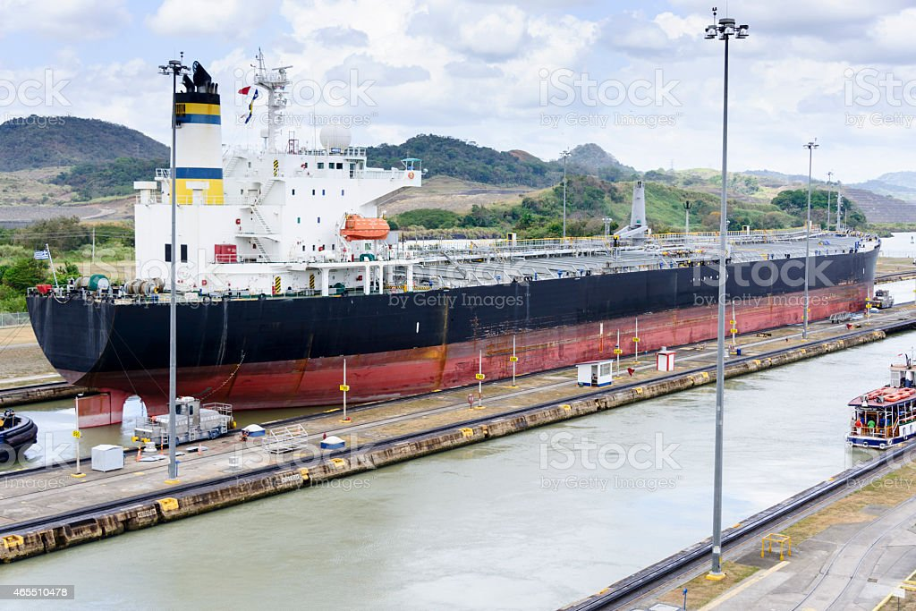 Ship going through the Panama Canal stock photo