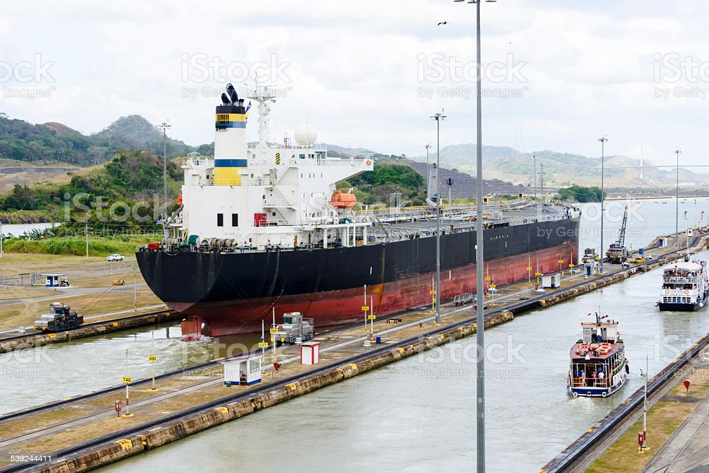 XXXL: Ship going through the Panama Canal stock photo