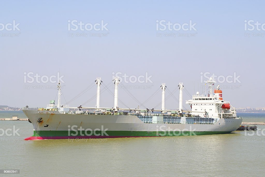 Ship going to port stock photo