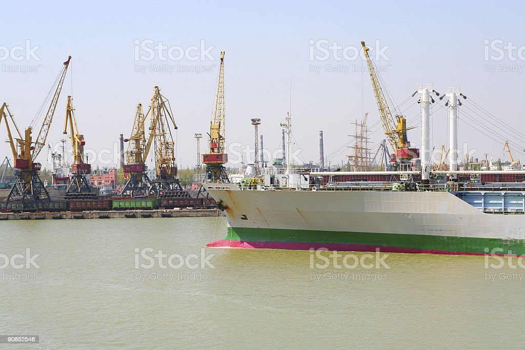 Ship going to port royalty-free stock photo