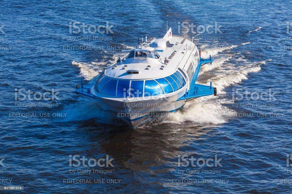 SAINT PETERSBURG, RUSSIA - JULY 26, 2014:  Ship hydrofoil transports tourists in Peterhof stock photo