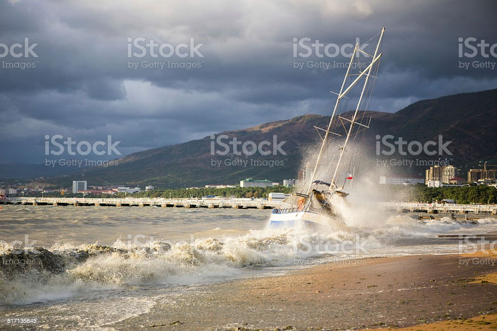 ship in a storm royalty-free stock photo