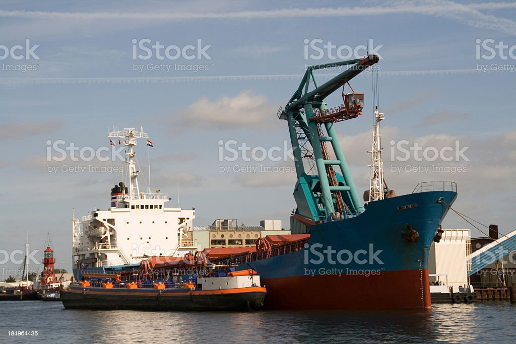 Ship in Amsterdam harbor royalty-free stock photo
