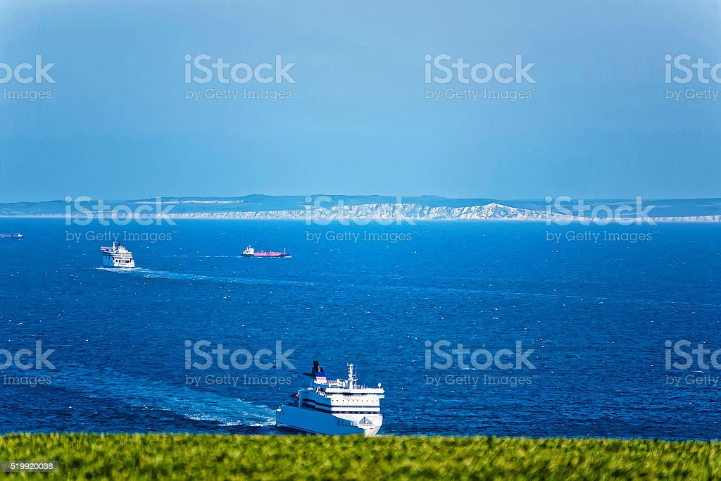 Ship in English Channel in Dover in Kent, England stock photo