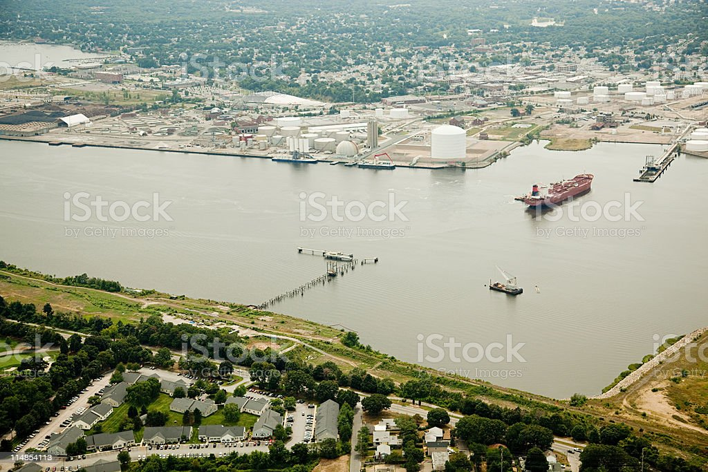 Ship in harbor, Newport County, Rhode Island, USA stock photo