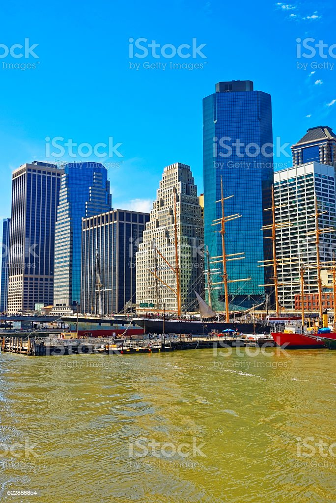 Ship in harbor of South Street Seaport Manhattan stock photo