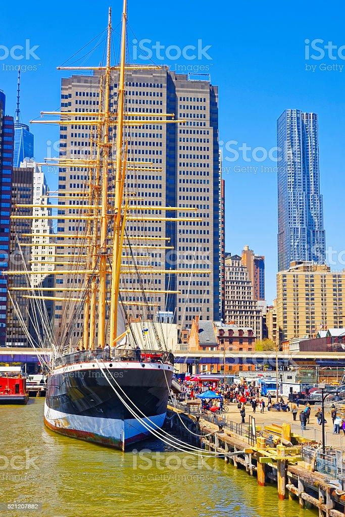 Ship in harbor of South Street Seaport stock photo