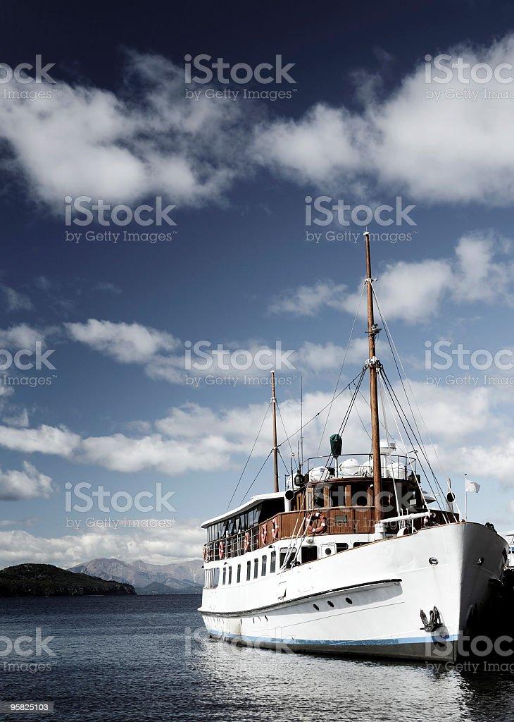 Ship in Lake Nahuel Huapi, Bariloche, Patagonia, Argentina stock photo