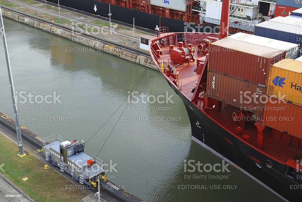 Ship in Miraflores Locks Panama Canal stock photo