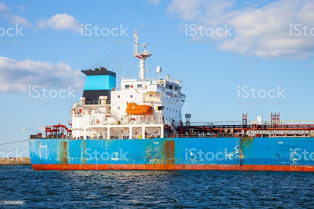 Ship in port stock photo