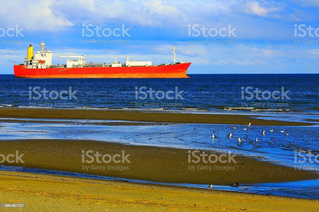 Ship in Punta Arenas Strait of Magellan, Chilean Antarctic Patagonia stock photo