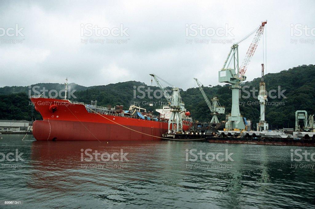 Ship in shipyard royalty-free stock photo
