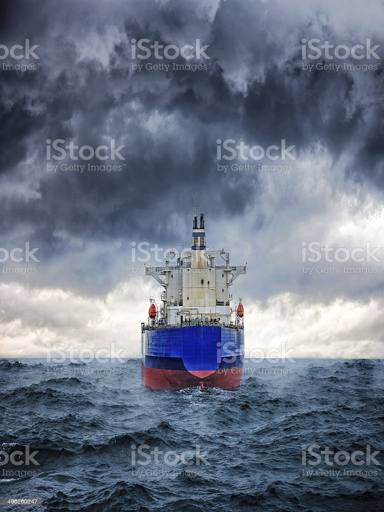 Ship in storm stock photo