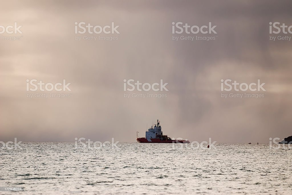 Ship in the Arctic, Baffin Island. stock photo