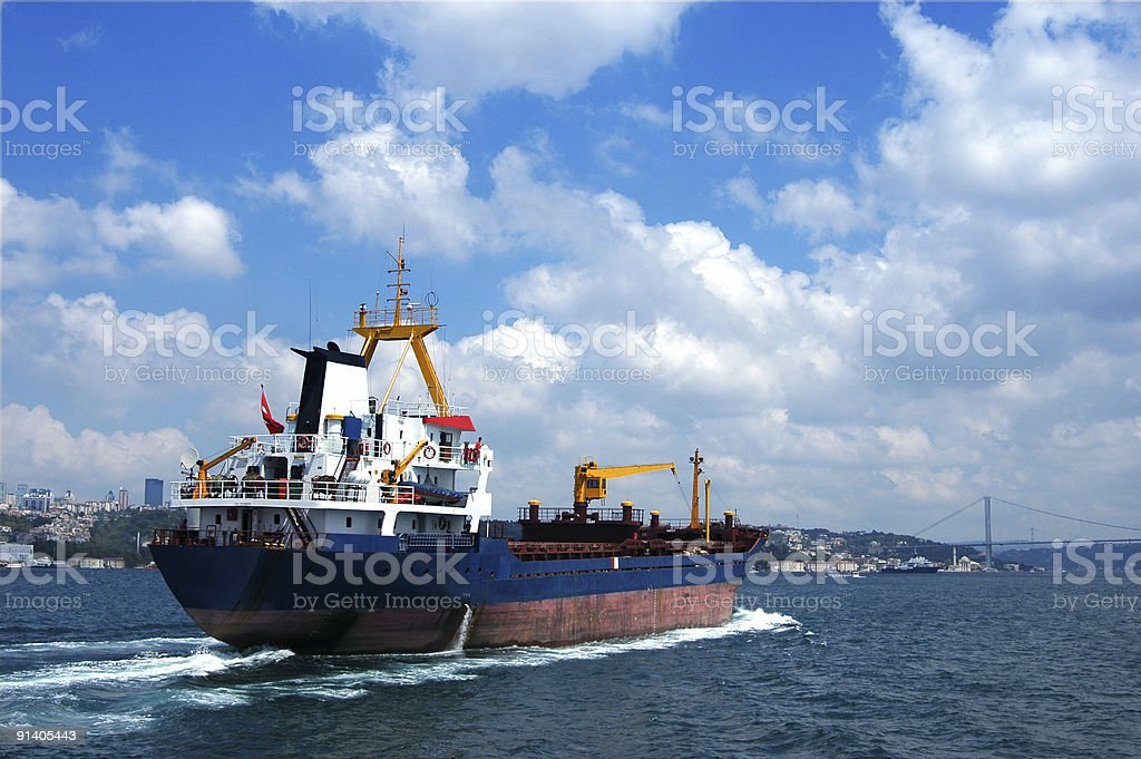ship in the bosphorus royalty-free stock photo