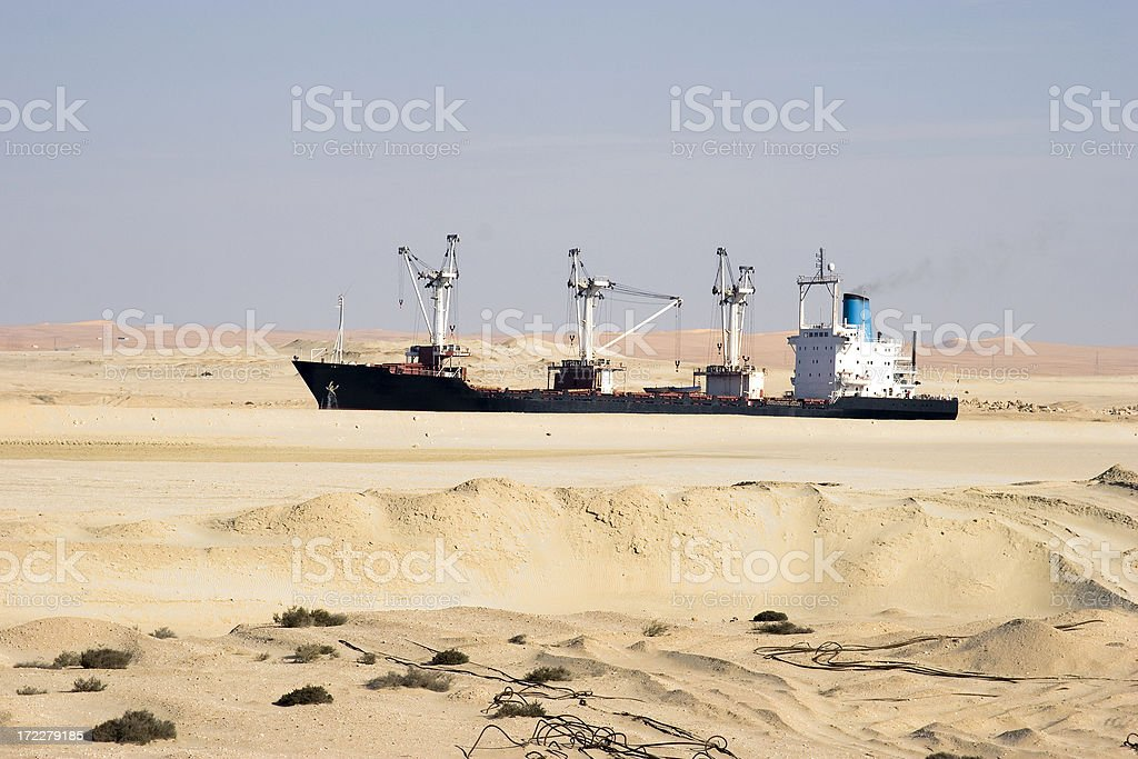 Ship in the desert royalty-free stock photo