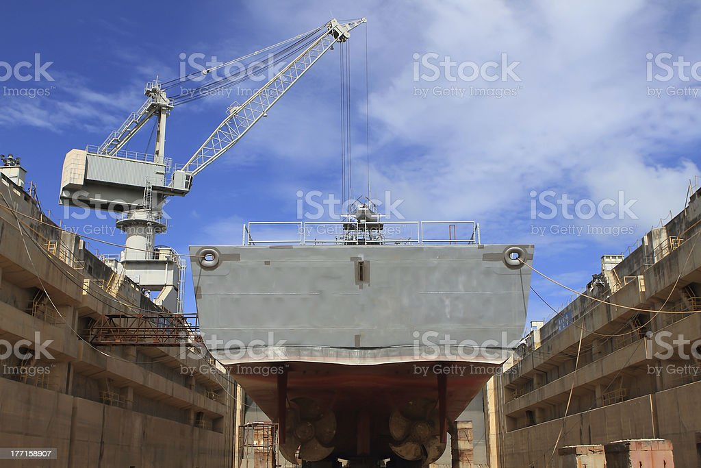 ship in the dry dock royalty-free stock photo