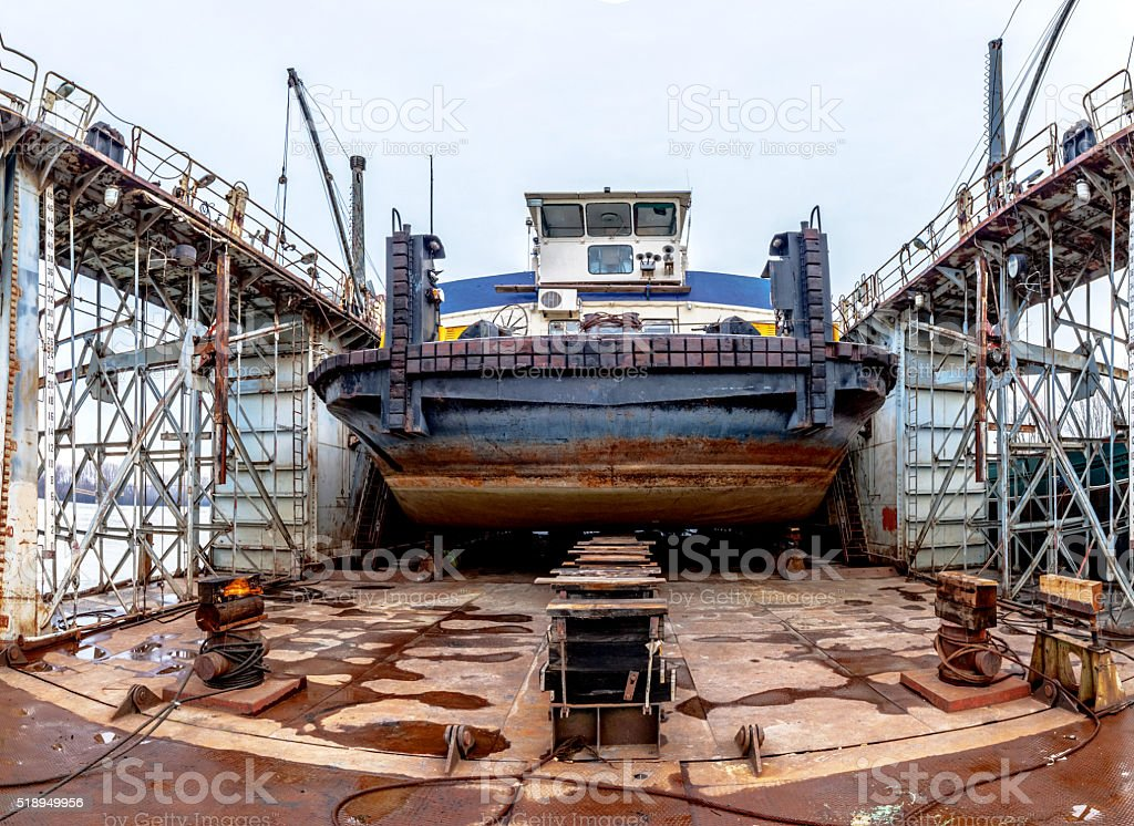 Ship in the drydock stock photo