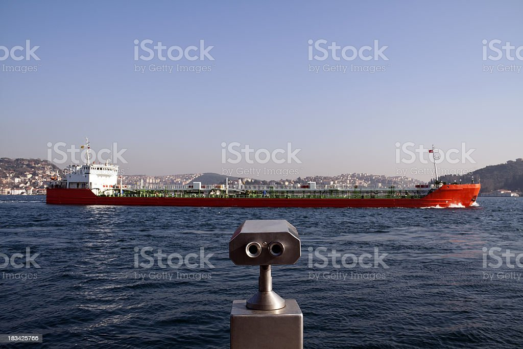 Ship in the Istanbul strait royalty-free stock photo