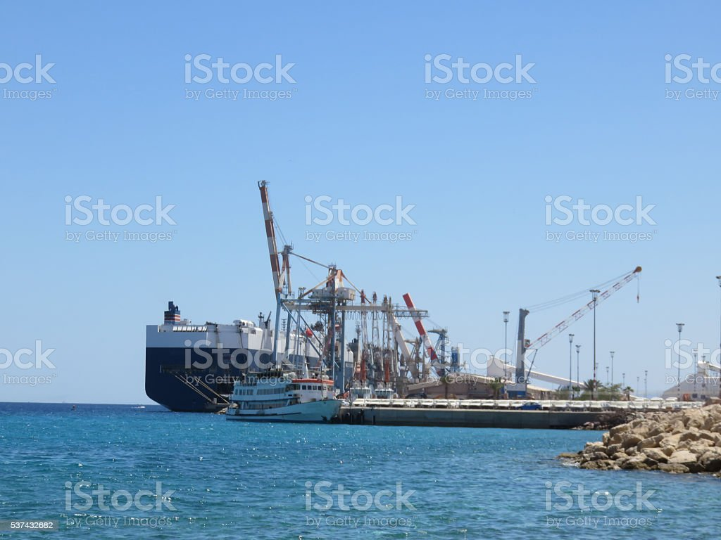 Ship in the port of Eilat , Israel stock photo