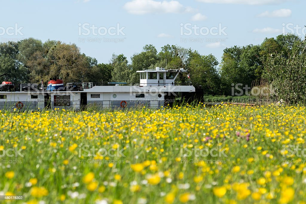 Ship in the river of Seine royalty-free stock photo