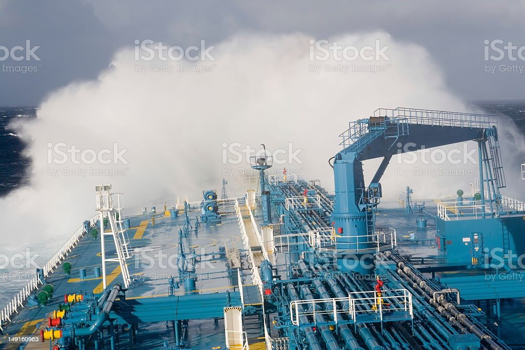 Ship in the storm royalty-free stock photo
